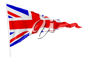 Triangular national flag of United Kingdom of Great Britain on flagpole flying in the wind isolated on white, 3d illustration
