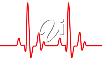 Red heart pulse graphic line on white. Healthcare medical sign with heart cardiogram, cardiology concept pulse rate diagram illustration