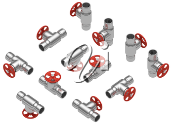 Steel pipeline equipment and elements industrial collection: set of steel valve with red handle in different sides isolated on white background, industrial 3d illustration