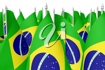 Many small national flags of Federative Republic of Brazil with flagpole isolated on white background, 3d illustration