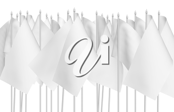 Many small white flags in row isolated on white background, 3d illustration