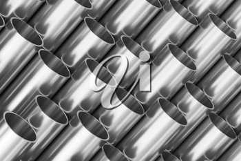 Manufacturing industry business production and heavy metallurgical industrial products creative abstract illustration: many shiny steel pipes, creative industrial 3D illustration
