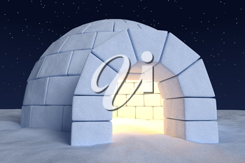Winter north polar snowy landscape: closeup view of eskimo house igloo icehouse with warm light inside made with snow at night on the surface of snow field under cold night north sky with stars