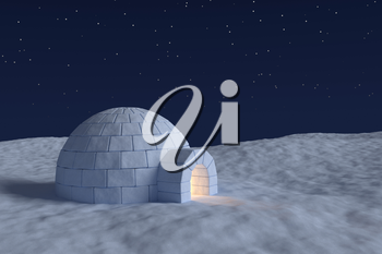 Winter north polar snowy landscape: eskimo house igloo icehouse with warm light inside made with snow at night on the surface of snow field under the cold night north sky with bright stars