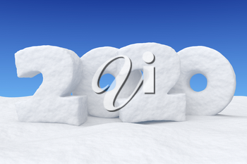 Happy New Year 2020 sign text written with numbers made of snow on snowy field under clear blue night sky, snowy winter 3d illustration landscape
