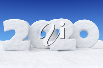 Happy New Year 2020 sign text written with numbers made of snow on snowy field under blue night sky, snowy winter 3d illustration landscape