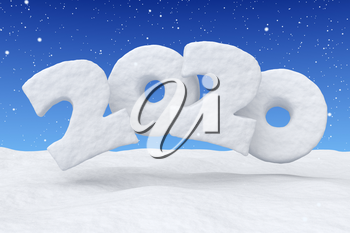 2020 Happy New Year sign text written with numbers made of snow over snow surface in snowy field under blue sky and snowfall, winter snow landscape, 3d illustration