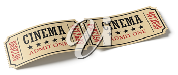 Two retro cinema tickets made of yellow textured paper isolated on white background, diagonal view, 3d illustration. Vintage retro cinema creative concept.