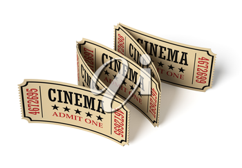 Five vintage retro cinema tickets made of textured yellow paper on white surface with shadows, closeup view, 3d illustration. Vintage retro cinema creative concept.