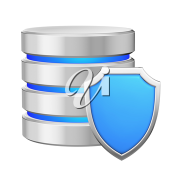 Data base with metal blue shield protected from unauthorized access, data protection concept, 3d illustration icon isolated on white background for Data Protection Day