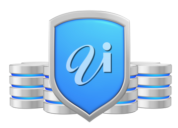 Databases group behind metal blue shield protected from unauthorized access, data privacy concept, 3d illustration icon isolated on white background for Data Protection Day