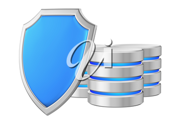 Data bases group behind metal blue shield on left protected from unauthorized access, data protection concept, 3d illustration icon isolated on white background for Data Protection Day