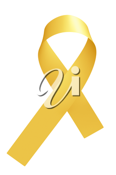Yellow ribbon International Childhood Cancer Awareness Day symbol isolated on white background, awareness campaign in february month, design element 3D illustration