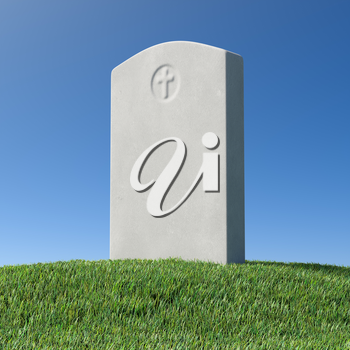 Gray blank gravestone on green grass hill on graveyard in memorial day under sun light under clear blue sky 3D illustration