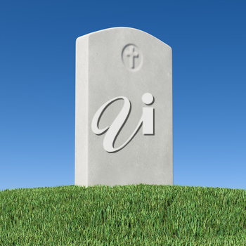 Gray blank gravestone on green grass on graveyard in memorial day under bright sunlight under clear blue sky 3D illustration