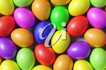 Multi colored Easter eggs colorful background with many different colored painted eggs, top view, 3D illustration