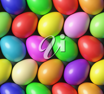Multi colored Easter eggs colorful seamless background with many different colored painted eggs, top view, 3D illustration