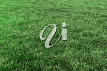 Green grass field background, green lawn in park close-up perspective view, nature 3D illustration