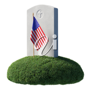 Headstone and small American flag on green grass islet in memorial day under sunlight isolated on white background, Memorial Day concept sign 3D illustration.