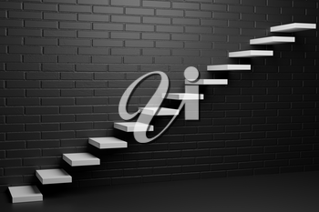 White ascending stairs of rising staircase going upward in empty black room with brick wall in the dark, abstract 3D illustration