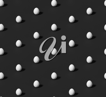 Many whitechicken eggs with shadow on black colorless seamless isometric background, achromatic black background, 3D illustration