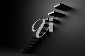 Ascending black stairs of rising staircase going upward in empty black room, abstract 3D illustration. Business growth, progress way and forward achievement problems in the dark creative concept.