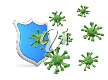 Shield protect form viruses and bacteria cells isolated on white background 3D illustration, coronavirus protection, medical health, immune system and health protection concept