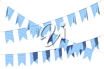 Party flags for Oktoberfest festival buntings garland of Bavarian checkered blue flag with blue-white checkered pattern, traditional Oktoberfest festival decorations isolated, 3D illustration