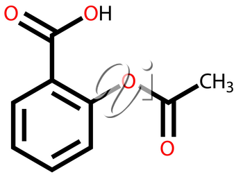 Structural formula of aspirin drawn on a white background