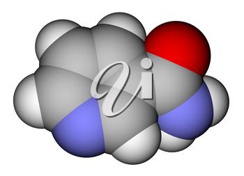 Optimized molecular structure of vitamin nicotinamide on a white background