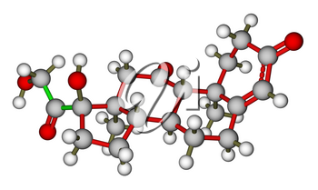 Optimized molecular structure of hormone cortisone on a white background