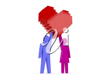 Male and female figures holding heart. Concept 3D illustration.