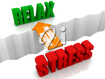 Physical activity is the bridge from STRESS to RELAX. Concept 3D illustration.
