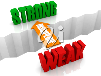 Discipline is the bridge from WEAK to STRONG. Concept 3D illustration.