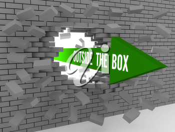 Arrow with words Outside The Box breaking brick wall. Concept 3D illustration.