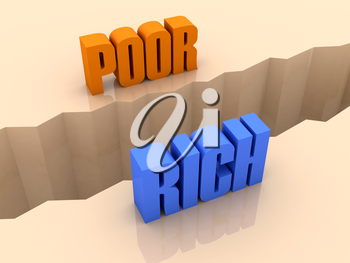 Two words POOR and RICH split on sides, separation crack. Concept 3D illustration.