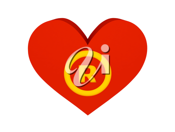 Big red heart with trademark symbol. Concept 3D illustration