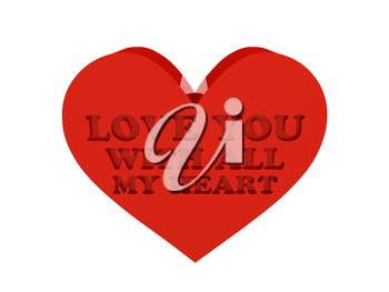 Big red heart. Phrase LOVE YOU WITH ALL MY HEART cutout inside. Concept 3D illustration.