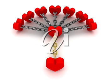 Seven hearts linked with one heart.  Dependence on past relations. Concept 3D illustration.