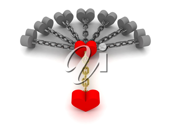 Seven gray hearts holding one red heart. Dependence on bad relations. Concept 3D illustration.