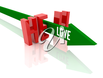 Arrow with word  Love breaks word Hell. Concept 3D illustration.