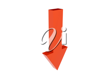 Arrow down icon over white background. Concept 3D illustration.