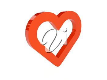 Heart icon over white background. Concept 3D illustration.