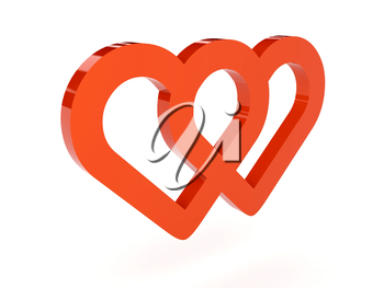 Two hearts icon over white background. Concept 3D illustration.