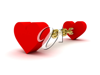 Two hearts linked by golden chain. Concept 3D illustration.