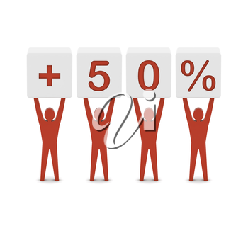 Men holding plus 50 percent. Concept 3D illustration.