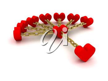 Seven hearts linked with one heart. Good relations. Concept 3D illustration.