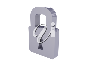 Lock icon over white background. Concept 3D illustration.