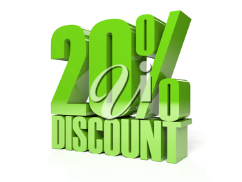 20 percent discount. Green shiny text. Concept 3D illustration.