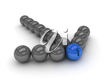 Grey arrow of the balls with the blue leader in front. Concept 3D illustration
